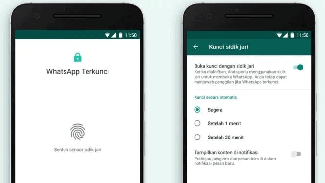 mengunci whatsapp dengan fingerprint