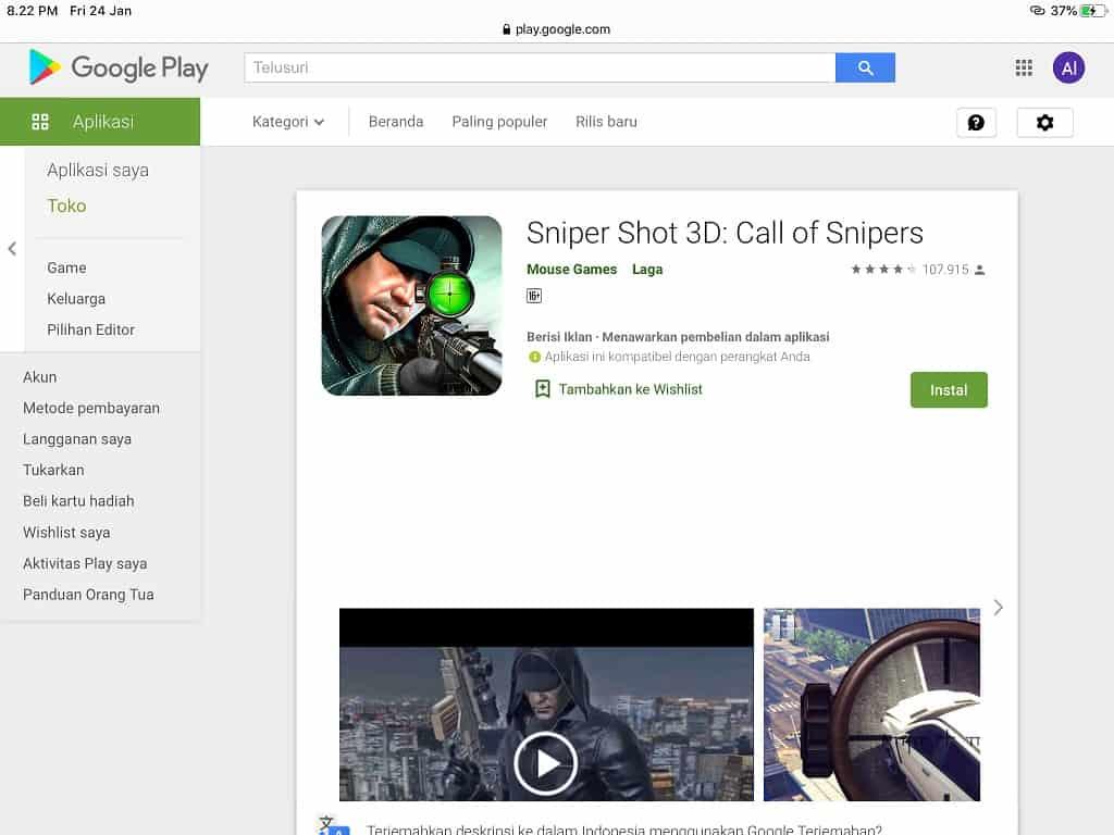 game offline Sniper terbaik