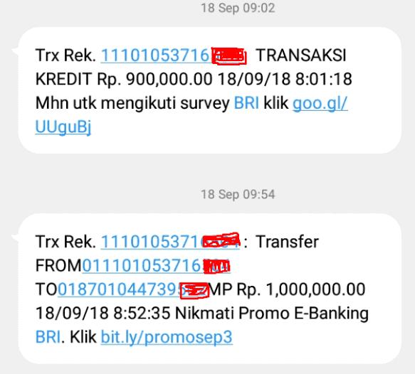 contoh sms notifikasi dari bri notif