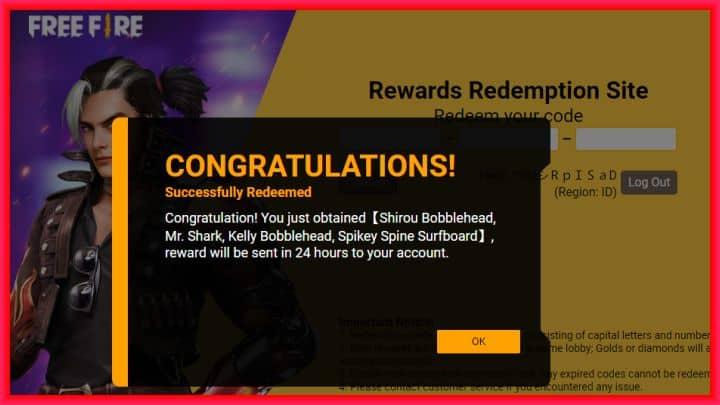 hadiah reward ff terbaru